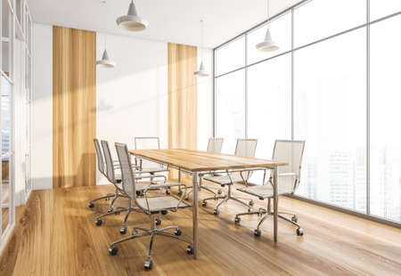 Wooden conference room with white armchairs and table. Office minimalist furniture, side view, near window in business office, 3D rendering no people