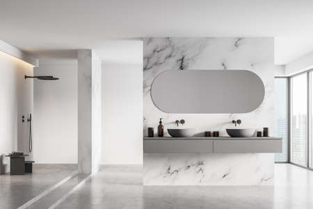Modern classic bathroom with double sink and shower, large panoramic window, city view, minimalistic white marble and concrete interior design. 3d rendering