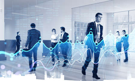 Business people and stock market dynamics, office interior and diverse office workers. Lines of graph, concept of international communication and analysis