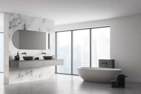 Corner of modern bathroom with double sink and white bathtub, large panoramic window, city view, minimalistic marble and concrete interior design. 3d rendering