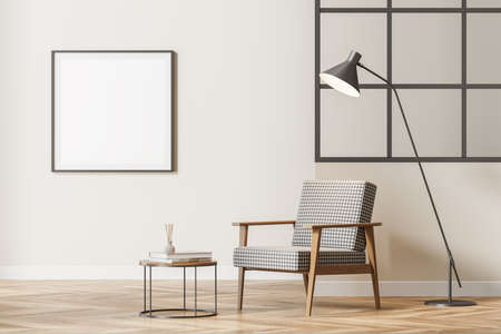 Modern bright waiting room interior with cozy armchair, glass lattice partition, empty poster on beige wall, oak wooden parquet floor. Concept of contemporary minimalist design. Mock up. 3d rendering Foto de archivo