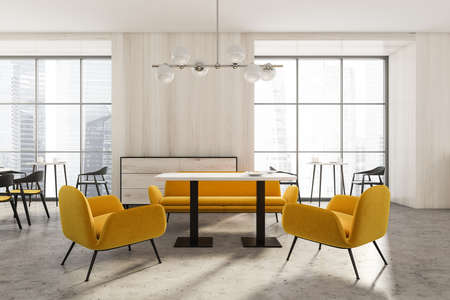 Modern luxury cafe interior with yellow chairs and table and windows with skyscrapers view. Concrete floor and minimalist design of public restaurant. 3D rendering