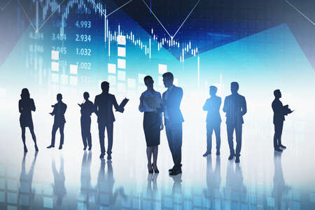 Group of business people get together to develop new financial strategy in order to increase clients revenue on stock. Brainstorm method in analysing market behavior.