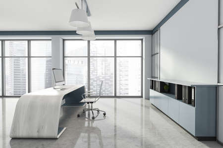 Head of a company's office interior with table and desktop computer, shelf with folders, white armchairs. Mockup copy space wall. Panoramic window. 3d rendering Imagens