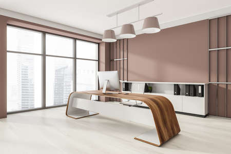 Head of a company's office interior with table and desktop computer, shelf with folders, white armchairs. Mockup copy space wall. Panoramic window. 3d rendering