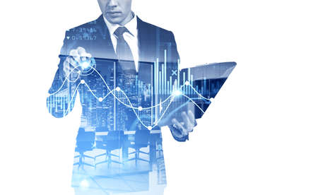 Office man using clipboard and taking note on virtual screen, stock market changes, business graph bar chart. Double exposure of blue white white lines, growing numbers. Concept of online trading