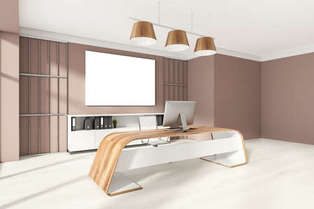 Head of a company's office interior with table and desktop computer, shelf with folders, white armchairs. Mockup copy space banner canvas on wooden wall. 3D rendering Imagens