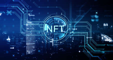 Non-fungible token hologram on virtual screen, nft with network circuit and numbers. Downtown cityscape on background. Concept of cryptoart and technology Stock Photo