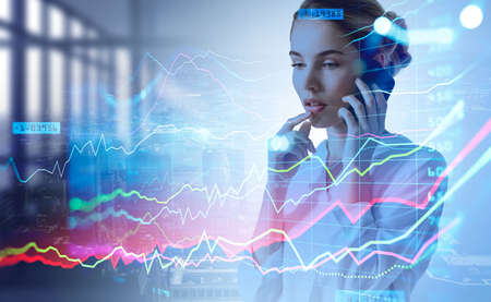 Businesswoman pensive using phone calling, stock market changes and business candlesticks graph chart. Double exposure rising graphs. Concept of financial advisor and online trading