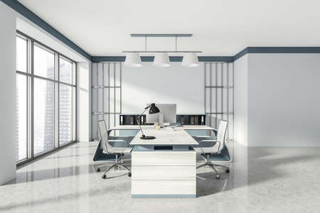 Head of a company's office interior with table and desktop computer, shelf with folders, white armchairs. 3D rendering