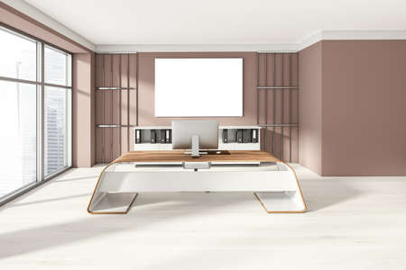 Head of a company's office interior with table and desktop computer, shelf with folders, white armchairs. Mockup copy space banner canvas on wooden wall. 3D rendering