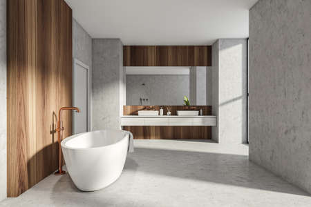 Modern Bathroom interior in new luxury home. Stylish hotel room. Open space area. Concrete wooden walls and floor. Bathtub and double sink. White door. 3d rendering.