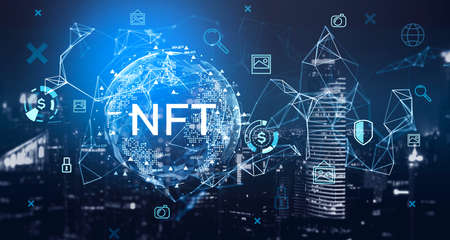 Non-fungible token hologram on virtual screen, nft with network circuit and globe. Downtown cityscape on background. Concept of cryptoart and technology