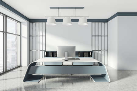 Head of a company's office interior with table and desktop computer, shelf with folders, white armchairs. 3D rendering Imagens