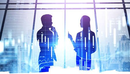 Silhouettes of two business people conversation, market and candlesticks dynamics. Double exposure of office buildings and forex changes. Concept of finance and meeting Stock fotó