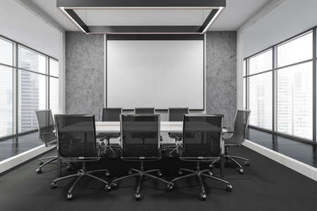 Wooden meeting room interior with black armchairs and projection screen, black parquet floor. Office minimalist furniture in business building, windows with city view, 3D rendering