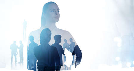 Silhouettes of diverse business people rushing and looking for solutions in abstract office space.Woman in business concept. Double exposure