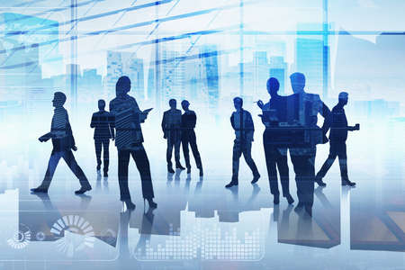 Group of business people working together over digital interface. Concept of teamwork, cooperation and network in international hi tech business. Office with New York panoramic cityscape Stock Photo