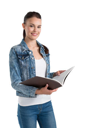 Isolated half length portrait of smiling young caucasian businesswoman in casual clothes holding folder. Concept of learning and career choice