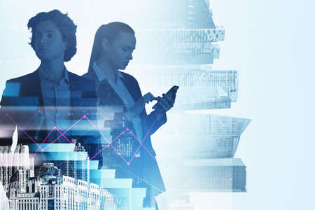 Woman using smartphone and businessman in suit analysing market changes. Violet lines and bar chart with city buildings blurred background. Concept of online trading and teamwork Imagens