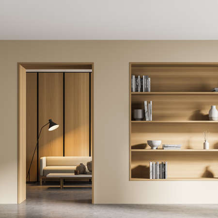 Light living room interior with couch and lamp. Bookshelf rack with books and vases. Minimalist art, library room on concrete floor, 3D rendering no people