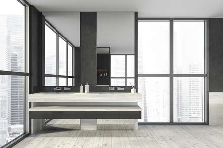 Modern design bathroom interior with double sink countertop, silver faucets. Panoramic window with skyscrapers city view. Wooden floor and black walls. Public wc hands wash concept. 3d rendering.