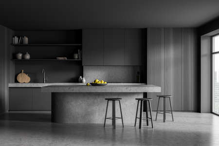 Dark kitchen room with table and three bar chairs, front view, gray floor. Cooking set interior with shelf and rack, window with city view, 3D rendering no people