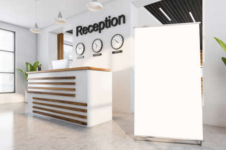 Blank poster in white and wooden business interior with computer, plant near window with city view on skyscrapers. Mockup template in entrance office hall, 3D rendering no people