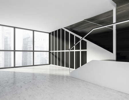 Minimalistic modern hall interior with stairs. Stone floor. Concrete stairs. Panoramic window with city view. 3d rendering Imagens