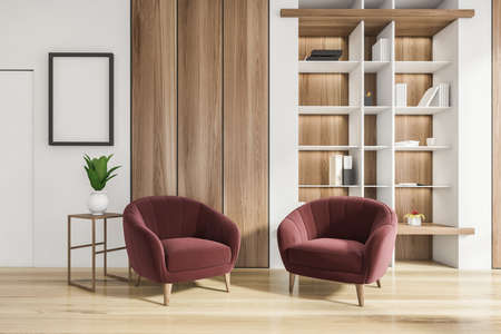 Luxurious bright living room interior with elegant furniture and red armchairs, in residential apartment. Modern concept for design and architecture. Book shelf niche. 3d rendering.