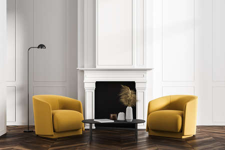Classic white living room, office lounge or home library interior with two yellow armchairs, coffee table and fireplace. Concept of education and relaxed scientific passtime. 3d rendering Imagens