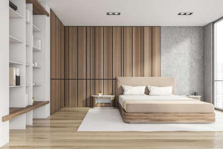 Modern stylish bedroom interior with wooden walls, parquet floor, master bed and book shelf niche in the corner. Sleep concept. 3d rendering