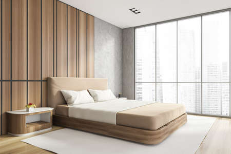 Modern stylish bedroom interior with wooden walls, parquet floor, master bed and panoramic window city view. Skyscraper building. 3d rendering