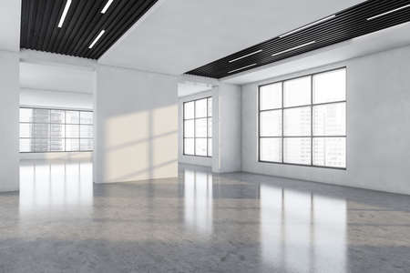 White and wooden large empty office room in business center with windows, side view. White hall, large space with no furniture, 3D rendering no people Imagens
