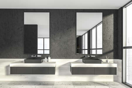 Modern design bathroom interior with two sinks countertop, silver faucets. Panoramic window with skyscrapers city view. Wooden floor and dark walls. Public wc hands wash concept. 3d rendering.