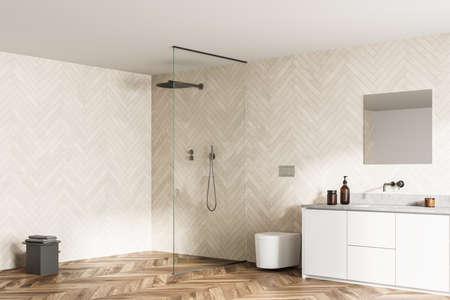 Spacious modern bathroom design interior in wood tones with parquet floor, walk-in shower, sink vanity. Window light. 3d rendering
