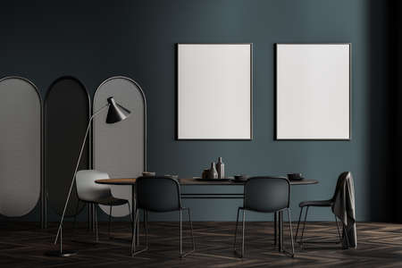 Interior of stylish Scandinavian dining room with dark gray walls, wooden floor, long table with chairs and two vertical mock up posters. Concept of advertising. 3d rendering