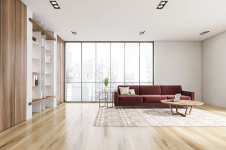 Luxurious bright living room interior with elegant furniture and red couch, in residential apartment. Modern concept for design and architecture. Singapore city view. Panoramic window. 3d rendering.