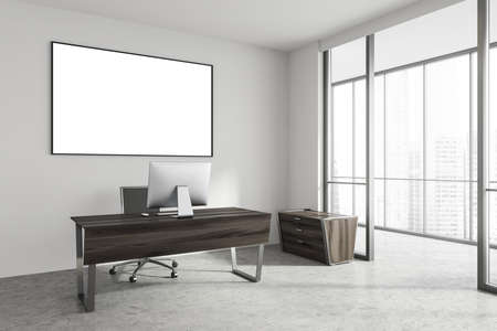 Interior of minimalistic Scandinavian style CEO office with white walls, stone floor, computer desk and long horizontal mock up poster. Panoramic window with blurry cityscape. 3d rendering