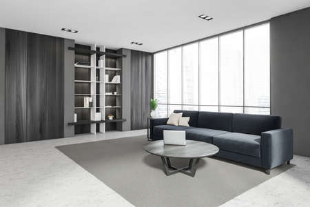 Luxurious bright living room interior with furniture and marine couch, in residential apartment. Modern concept for design and architecture. Singapore city view. Panoramic window. 3d rendering.