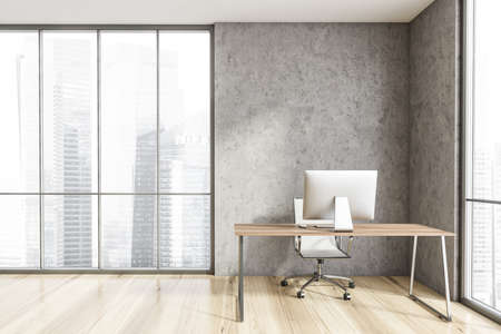 Interior of minimalistic Scandinavian style CEO office with stone walls, wooden floor, computer desk and panoramic window with blurry cityscape. 3d rendering