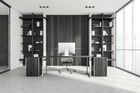 Interior of luxury Scandinavian style CEO office with white and wooden walls, computer desk and two bookcases. Panoramic window with blurry cityscape. 3d rendering