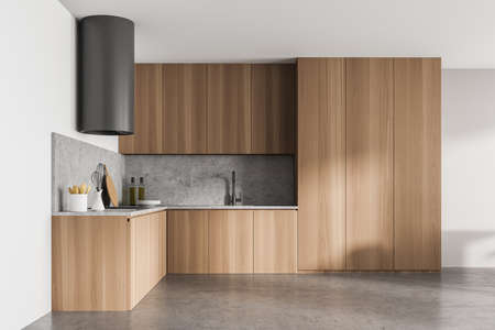 Stylish design wood and concrete interior of kitchen room. Minimalist style of home decor. 3d rendering