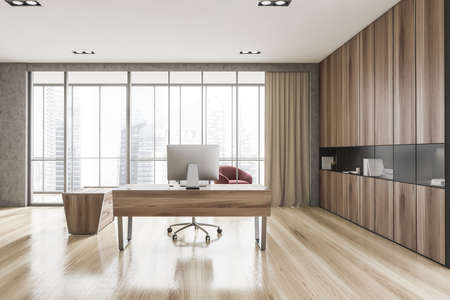 Interior of luxury Scandinavian style CEO office with stone and wooden walls, computer desk and bookcase. Panoramic window with blurry cityscape and lounge area. 3d rendering