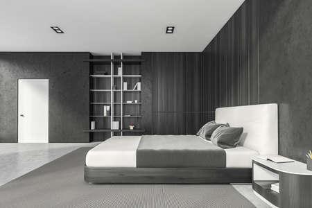 Modern stylish bedroom interior with gray walls, concrete floor, master bed and book shelf niche in the corner. White door. 3d rendering