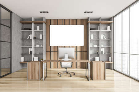 Interior of luxury Scandinavian style CEO office with stone and wooden walls, computer desk and two bookcases. Panoramic window with blurry cityscape. Horizontal mock up poster. 3d rendering Imagens