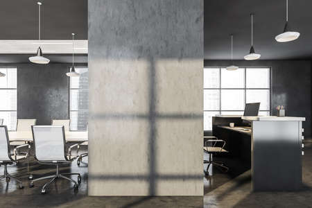 Blank wall in dark office interior with conference room and white table, armchair and desk with computer. City view on skyscrapers, 3D rendering no people