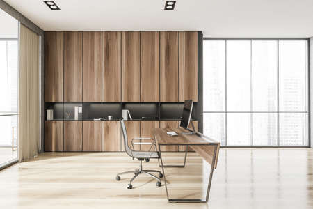 Side view of Scandinavian style CEO office with stone and wooden walls, computer desk and bookcase. Panoramic window with blurry cityscape. 3d rendering