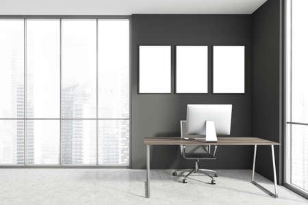 Interior of minimalistic Scandinavian style CEO office with gray walls, concrete floor, computer desk and three mock up posters. Panoramic window with blurry cityscape. 3d rendering Imagens