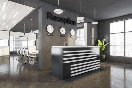 Gray reception interior and conference room on background. Business entrance with table with panoramic windows with view on skyscrapers, clock on the wall, 3D rendering no people